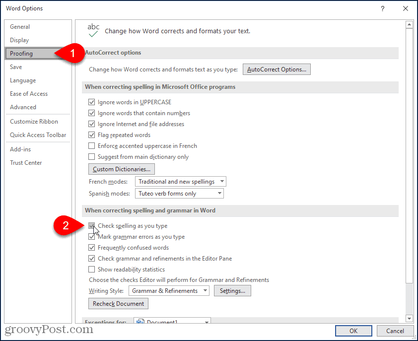 Enable Check Spelling as you type option in Word