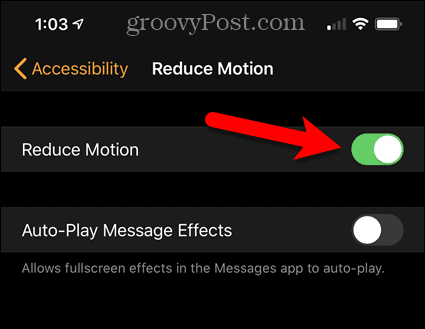 Enable Reduce Motion on iPhone