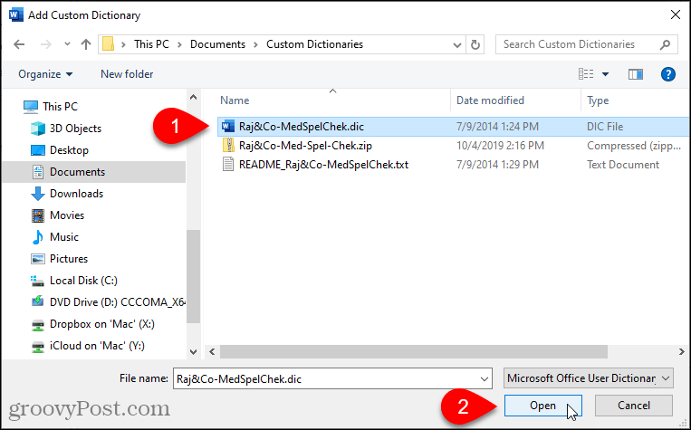 Select a custom dictionary to add in Word