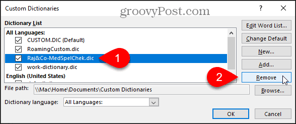 Remove a custom dictionary in Word