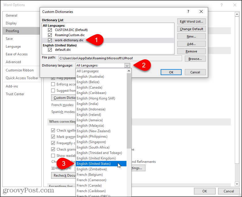 Select language for a custom dictionary in Word