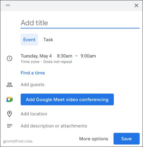 Add Google Meet in Google Calendar