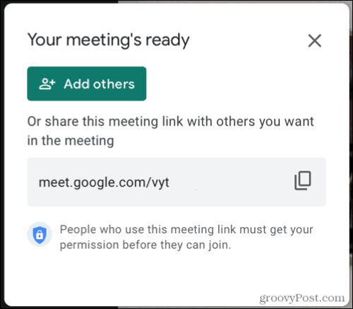 Add Others to a meeting on Google Meet
