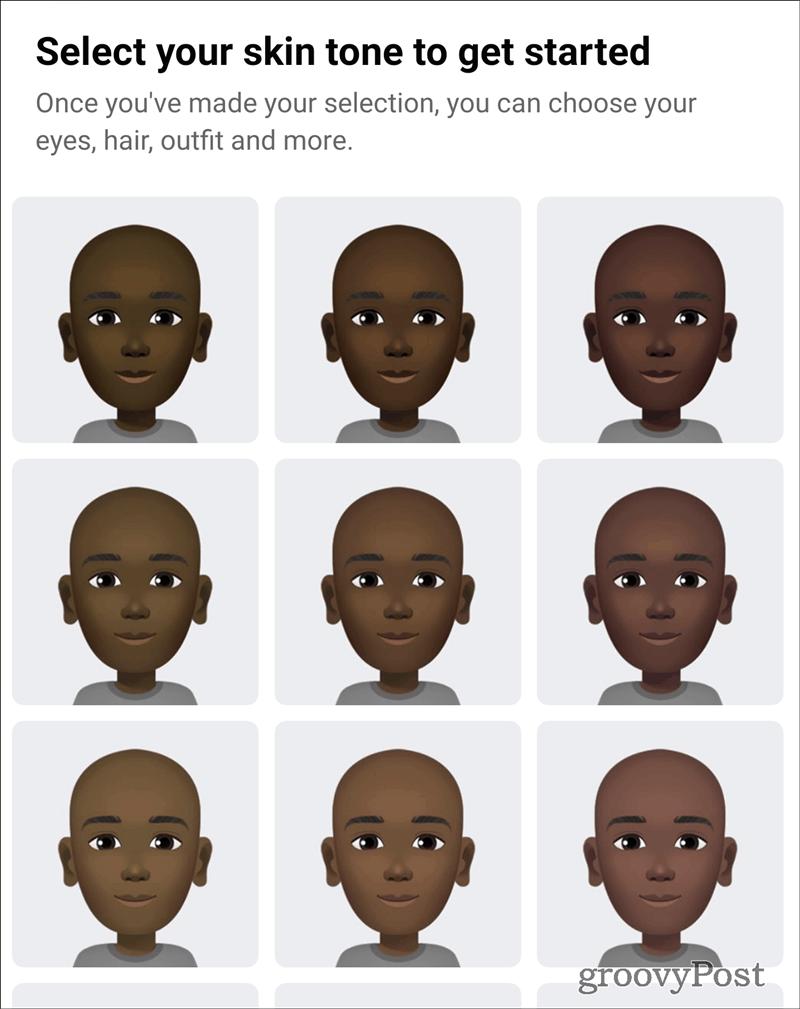 Facebook Avatar skin tone