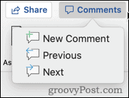 Comment options in Word