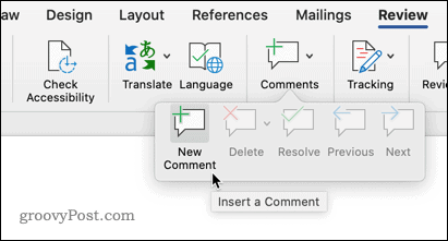 Adding a comment in Word