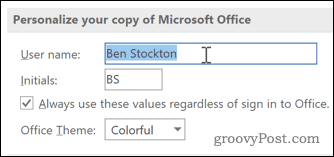 Personalize option in Word