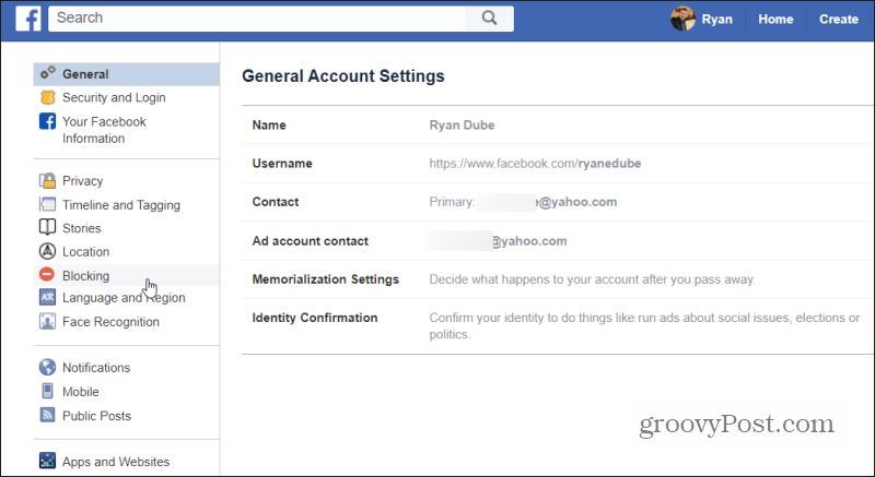 blocking setting in Facebook