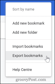 Exporting bookmarks in Chrome