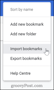 Importing bookmarks in Chrome