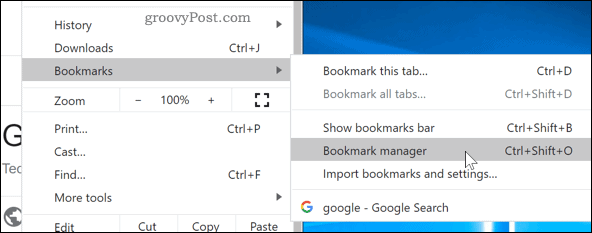 Accessing the Bookmarks Manager in Chrome