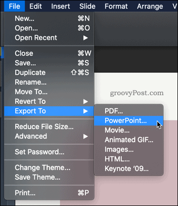 Export Keynote to PowerPoint
