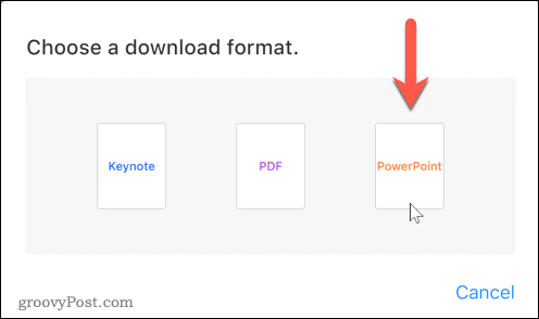 Choose the PowerPoint format option