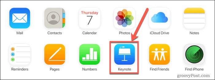 Press Keynote on iCloud