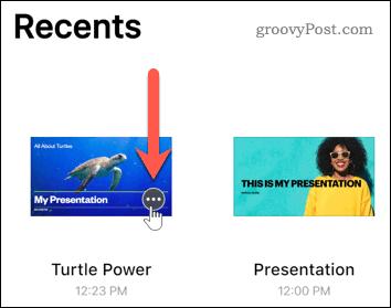 Press the more button on a presentation