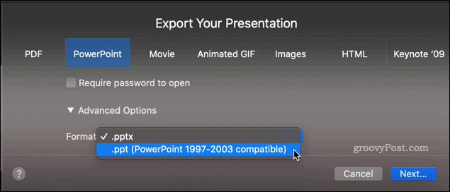 Exporting a Keynote presentation as a PPT file