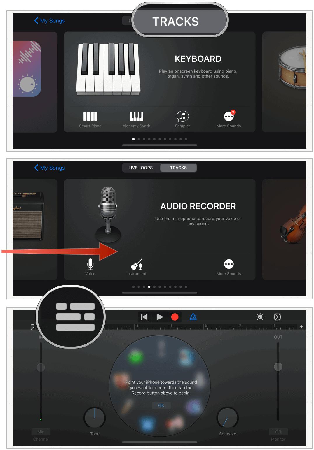 GarageBand select Audio Recorder