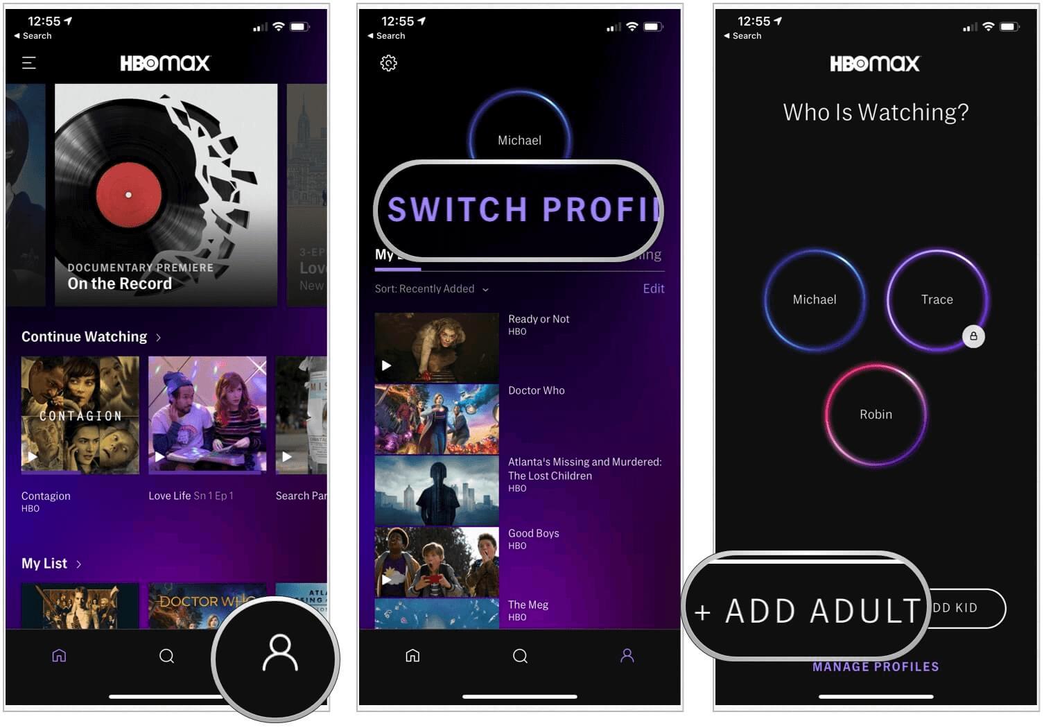 HBO Max create adult profile