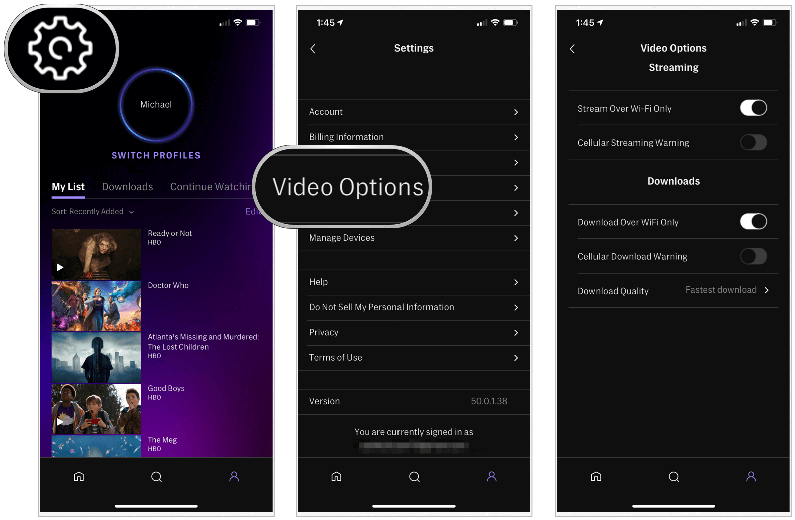 HBO Max video options