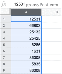Selecting a column in Google Sheets