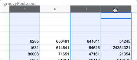 Selecting multiple cells in Google Sheets