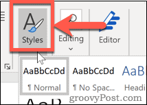 The Styles button in Word