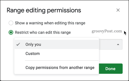Select your sheet range edit permissions