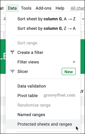 Click Data > Protected Sheets and Ranges