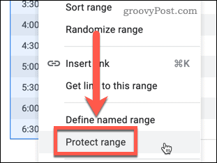 Click Protect Range