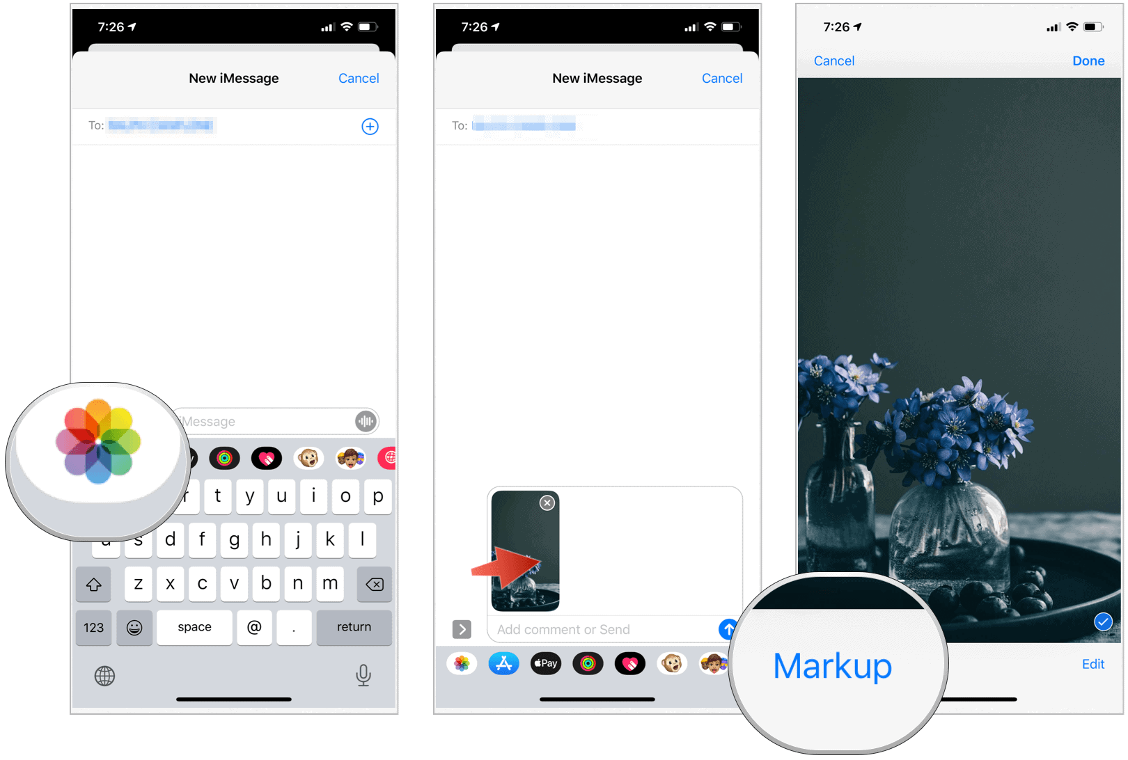 Messages Markup select image