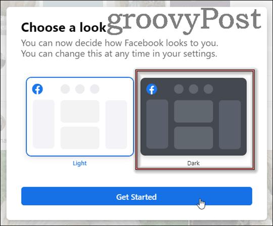 new facebook dark mode get started