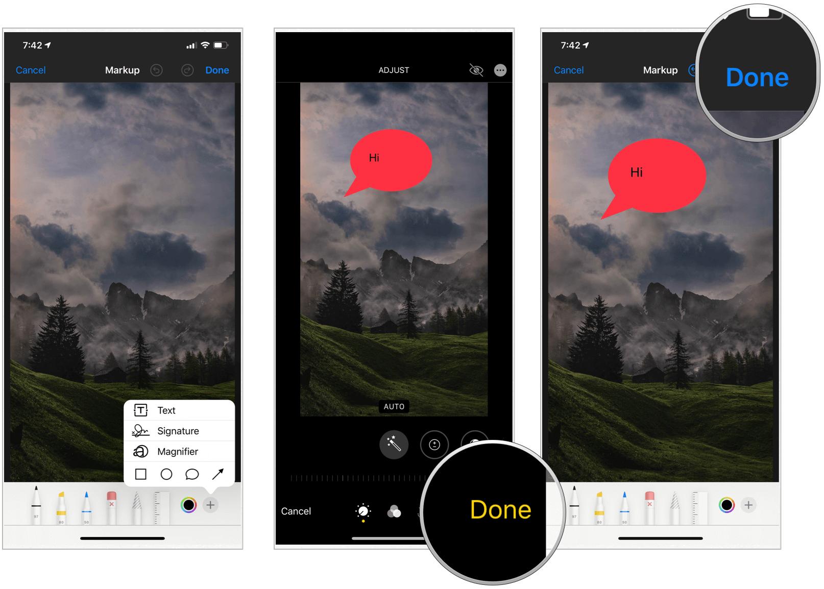 Photos app finish Markup