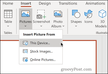 Inserting a picture from your device in PowerPoint