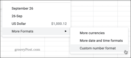 Selecting a number type in Google Sheets