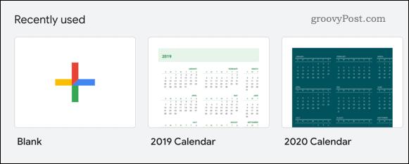 Selecting a calendar template in Google Sheets
