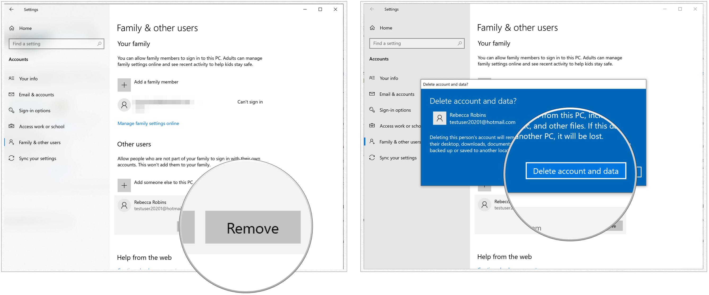 Windows 10 delete user
