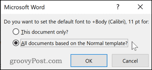 Changing the default Word template