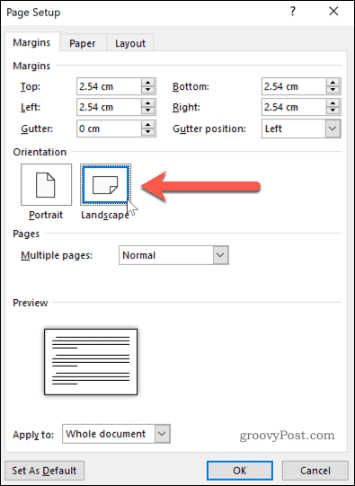 Setting page orientation to Landscape mode in Word