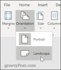 Changing page orientation in Word to Landscape mode