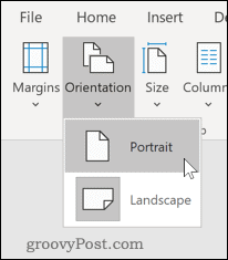 Setting page to Portrait mode in Word
