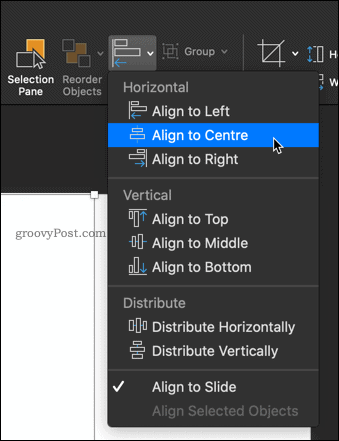 Aligning a picture in PowerPoint