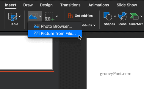 Inserting a picture in PowerPoint