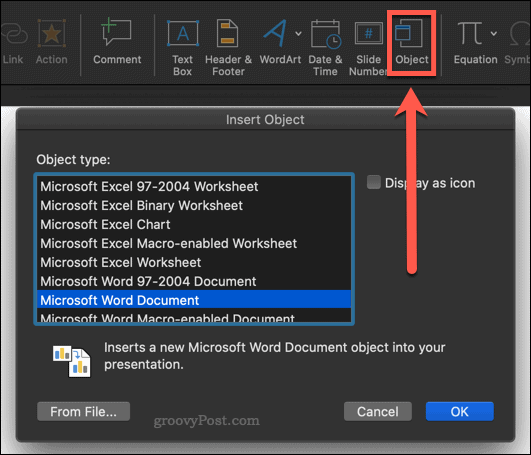 Inserting a PowerPoint into Word