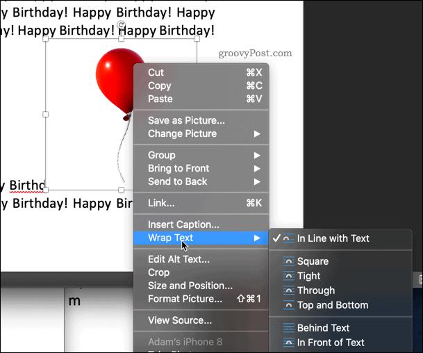 Wrap text option