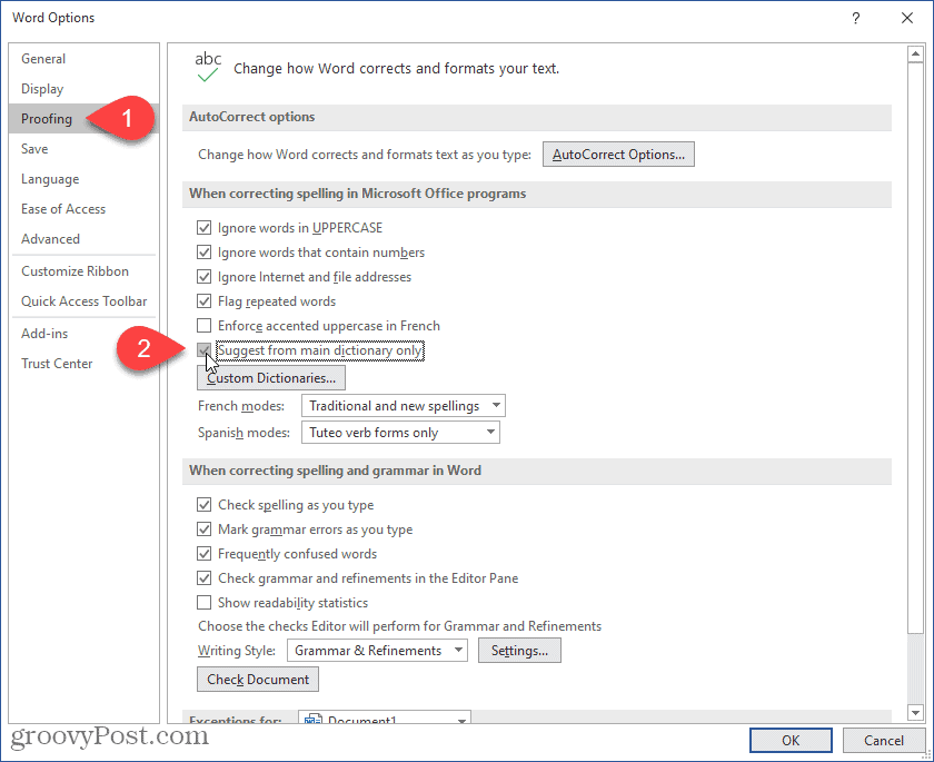 Enable Suggest from main dictionary only in Word
