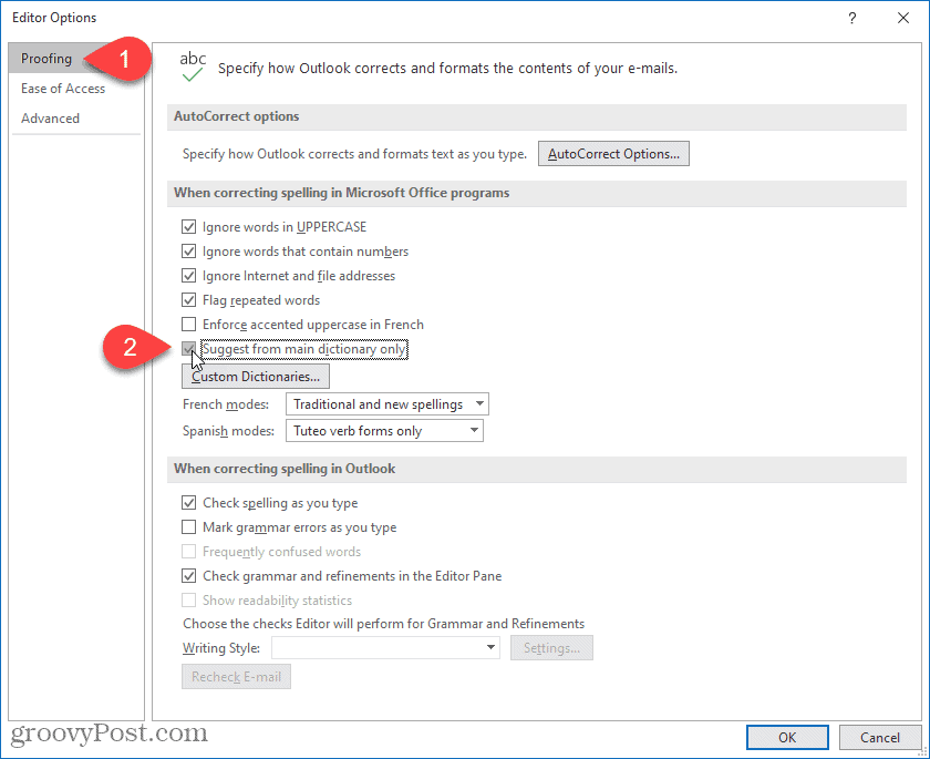 Enable Suggest from main dictionary only in Outlook