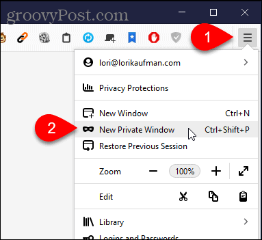Select New Private Window in Firefox for Windows
