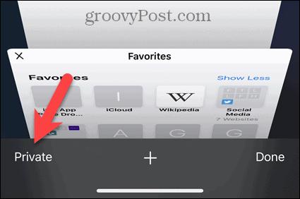Turn on Private in Safari on iOS