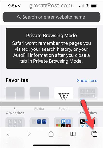 Private browsing mode in Safari on iOS