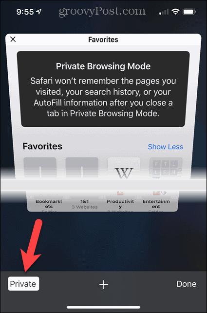 Turn off Private in Safari on iOS